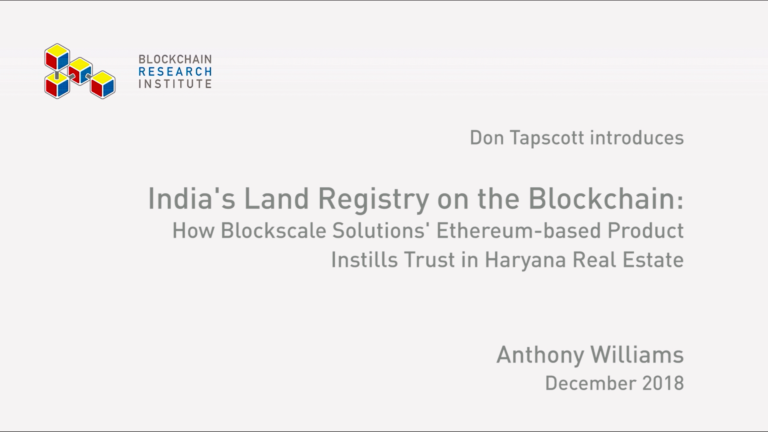 India's Land Registry on the Blockchain